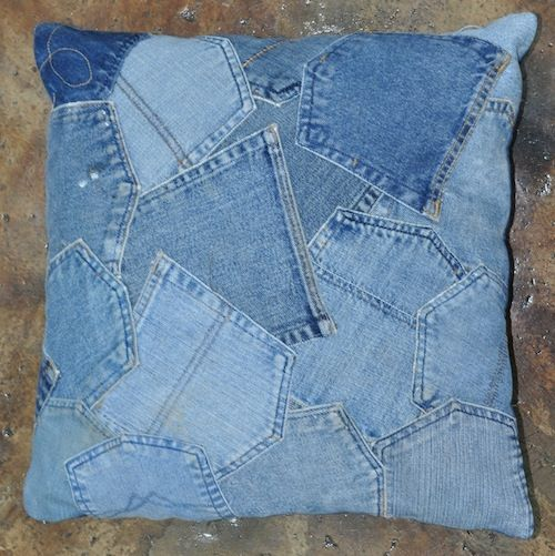 pillow of old jeans