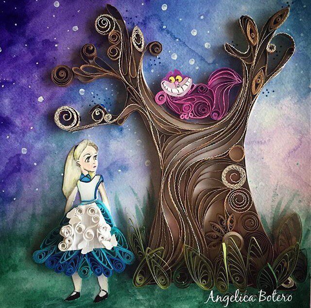 Alice and cat Paper Quilling